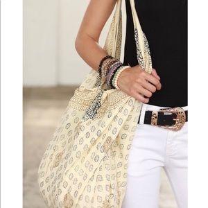 Handbags - Cream Paisley Boho zip shoulder bag